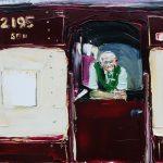Train Man, Cockatoo Run, Robertson NSW - 31x46cm - Oil/Charcoal/Canvas