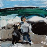 Kids and Wreckage, Cape Banks - 31x31cm - Oil/Canvas